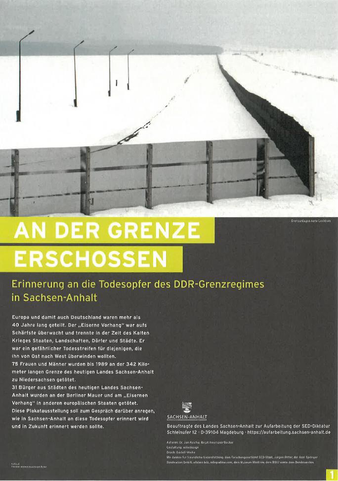 "Titelbild der Ausstellung ""An der Grenze erschossen"""
